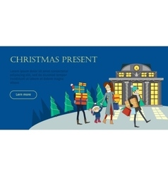 Christmas present flat style web banner vector