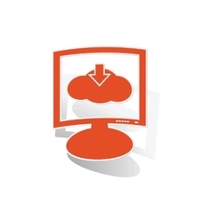 Cloud download monitor sticker orange vector