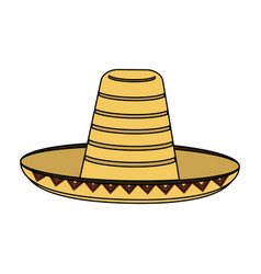 Colorful silhouette mexican hat accesory costume vector