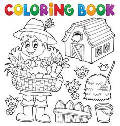 coloring book woman farmer theme 1 vector image