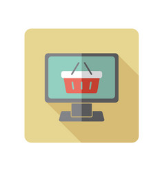 Computer display with shopping cart icon vector