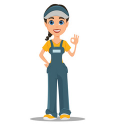 Courier woman smiling and showing ok sign vector