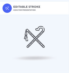 Crook and flail icon filled flat sign vector