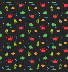 Cute crab and fishes seamless pattern cartoon vector