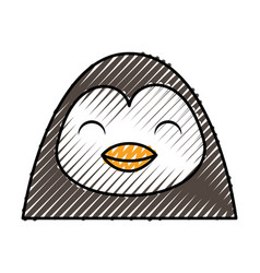 cute scribble penguin face cartoon vector image