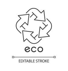 Eco label linear icon four angled arrow signs vector
