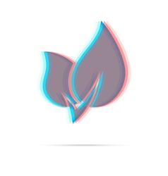 Eco leaf anagliph icon with shadow vector image