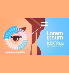 eye retina scanning access control male face vector image