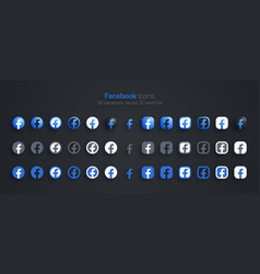 Facebook icons set modern 3d and flat vector