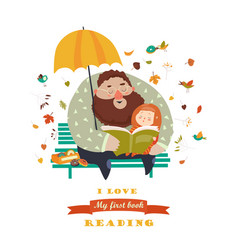 father reading a book to his daughter vector image
