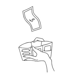 female hand holding open empty wallet with flying vector image