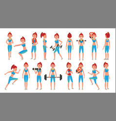 Fitness girl different poses exercises vector