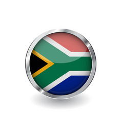 flag of south africa button with metal frame and vector image