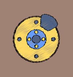 Flat icon design collection wheel and brake vector