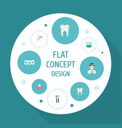 Flat icons dentition orthodontist decay and vector