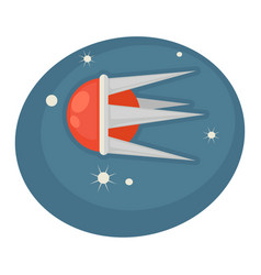 flying spaceship in round shape with sharp frame vector image
