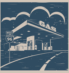 Gas station on the road old poster vector