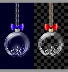 glass transparent christmas ball vector image
