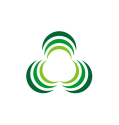 green three leaves logo template design eps 10 vector image