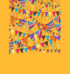 greeting card with garland flags vector image