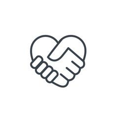 Handshake shaped heart icon line design vector