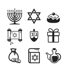 Hanukkah icons set vector