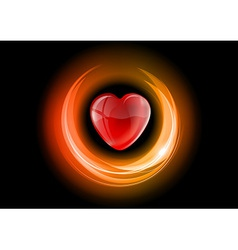 heart neon light dark orange vector image