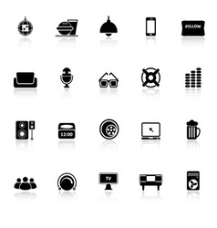 Home theater icons with reflect on white vector image