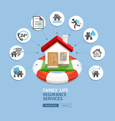 House insurance services house with lifebuoy vector
