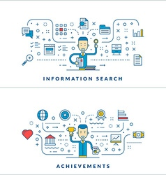 Information search Achievements Flat line icons vector