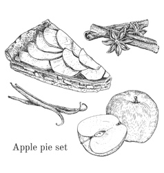 Ink apple pie set with apples cinnamon vanilla vector