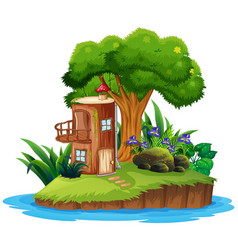 Island with tree house vector