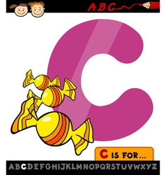 Letter c with candy cartoon vector