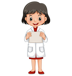 Little girl holding white paper vector
