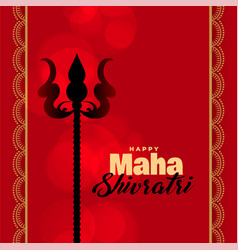 Lord shiva trishul on red background vector