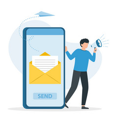 man speaks in megaphone e-mail letter on smart vector image