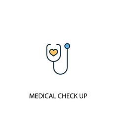 Medical check up concept 2 colored line icon vector