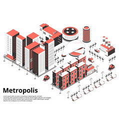 Metropolis street isometric background vector
