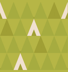 Minimal seamless pattern with trees and wigwams vector
