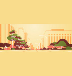 modern city panorama road with street lamps vector image