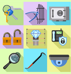 Museum security icon set flat style vector