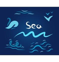 night set wave sea vector image