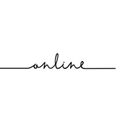 online - continuous one black line with word vector image