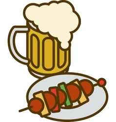 Overflowing Beer Mug and Plate with Kebab vector image
