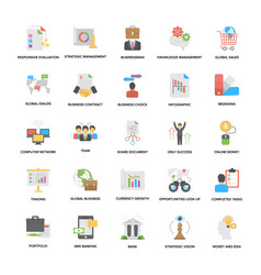 Pack of business management elements flat icons vector