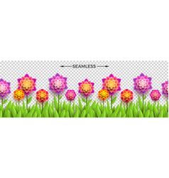 paper flowers and grass on a checkered background vector image