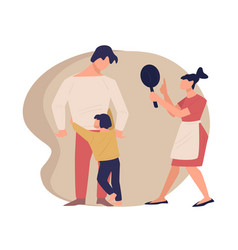 parents quarreling before child crying kid vector image