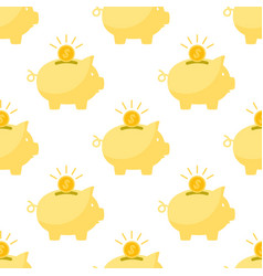 piggy bank and coins in white background vector image