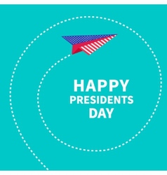 Presidents Day background Paper plane Dash line vector