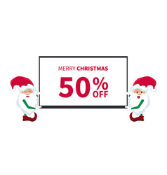 promotional discount card with little elves of san vector image